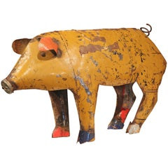 Vintage French Painted Tole Pig Made with Old Elements