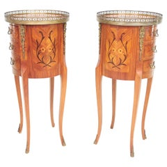 Vintage French Pair Marquetry Bedside Table Chests