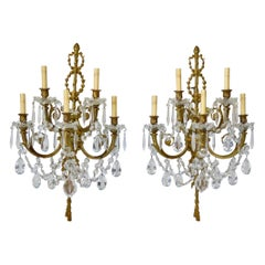 Vintage French Pair of Louis XVI Style Candelabra Sconces