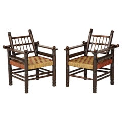 Vintage French Pair of Spindle Back Armchairs with Woven Seats