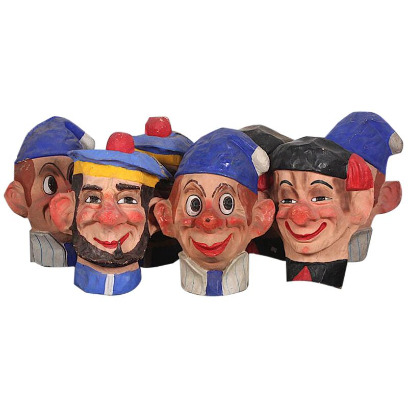 Vintage French Papier Mache Brightly Painted Carnival Heads