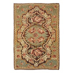 Vintage French Pattern Kilim in Green, brown and Multi Colors