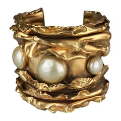 Vintage French Pearl Foiled Gold Cuff Bracelet