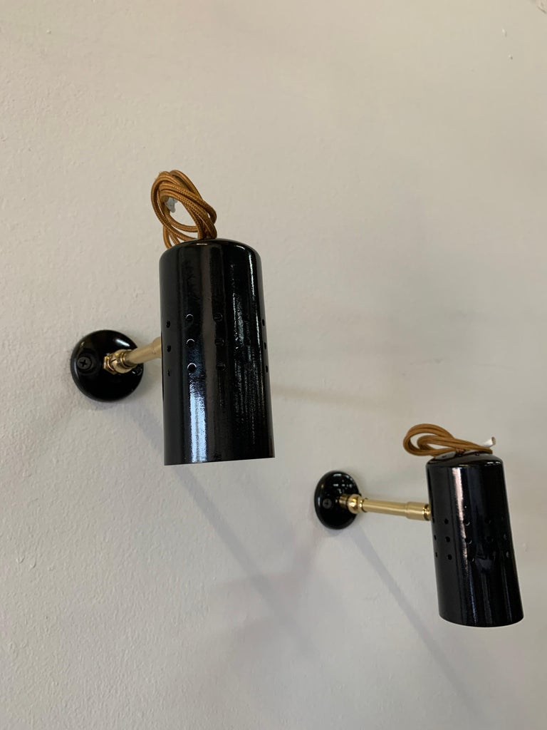 Vintage French Petite Spot Lights/ Wall Sconces, Pair For Sale 3
