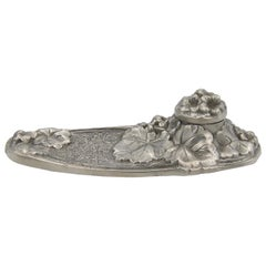 Vintage French Pewter Tray and Inkwell