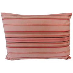 Vintage French Pink and Red Stripes Lumbar Decorative Pillow