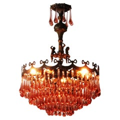 """Vintage French Pink Murano Glass """"Droplet"""" Chandelier with Cherubs"""