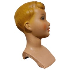 Vintage French Plaster Child Mannequin Head