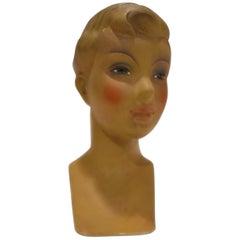 Vintage French Plaster Mannequin Head