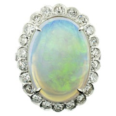 Vintage French Platinum GIA Oval Opal & Diamond Halo Low Profile Cocktail Ring