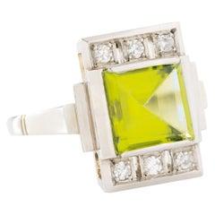 Vintage French Platinum Peridot and Diamond Ring