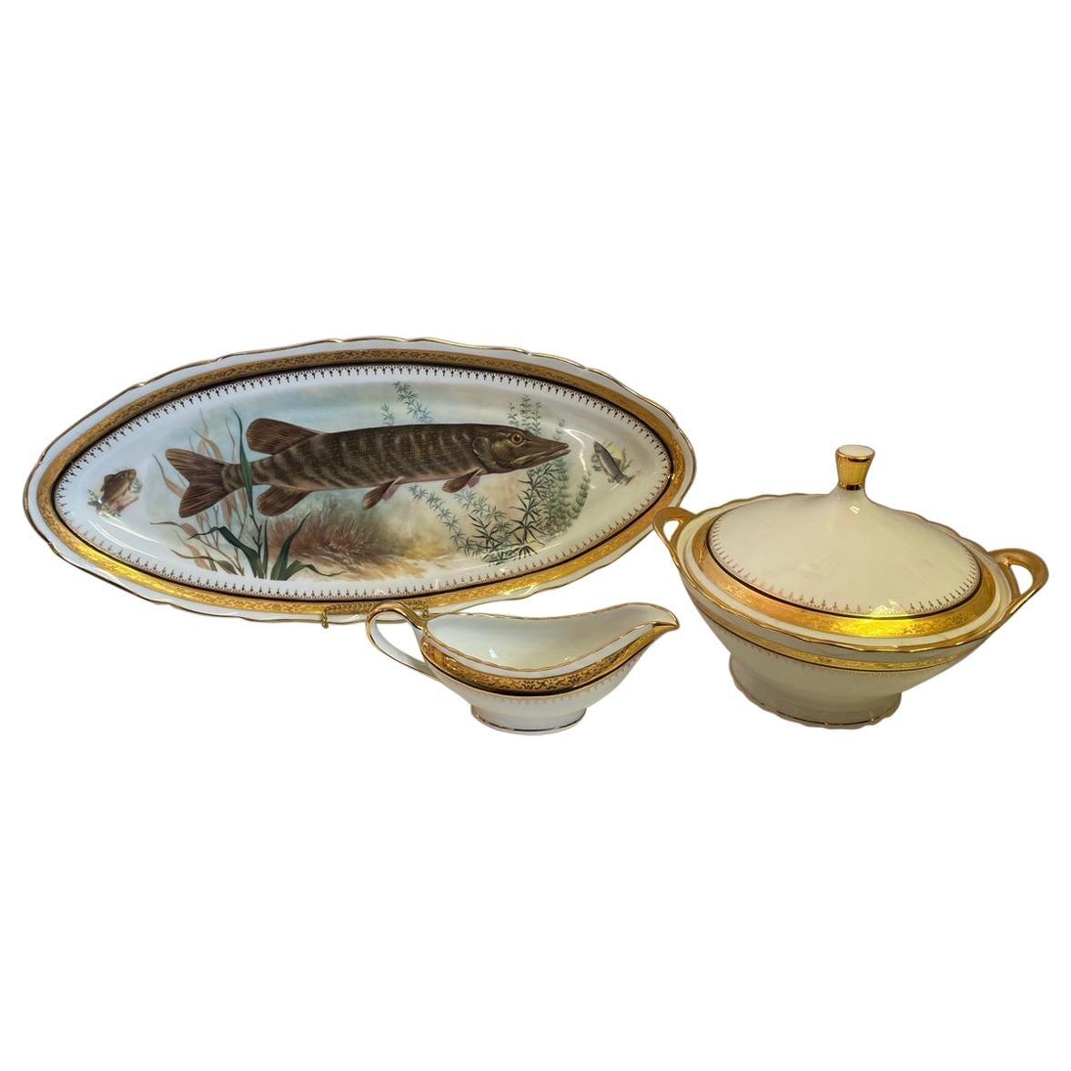 Vintage French Porcelain Serving Pieces, Set of 3