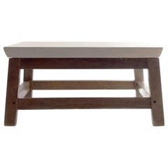 Vintage French Potteis Table in Oak, Limestone Top