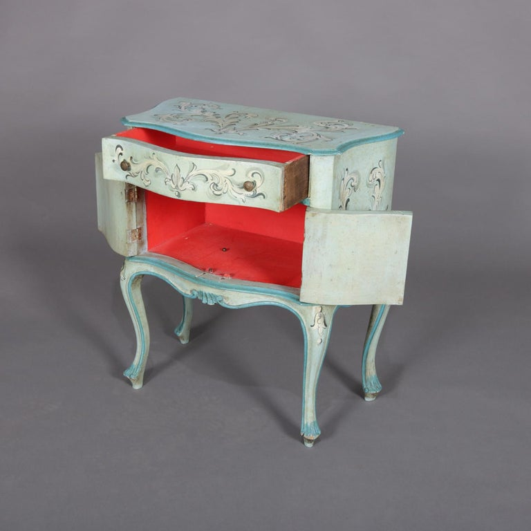 Italian Vintage French Provincial Hand Painted End Stand by Florentia and Made in Italy For Sale