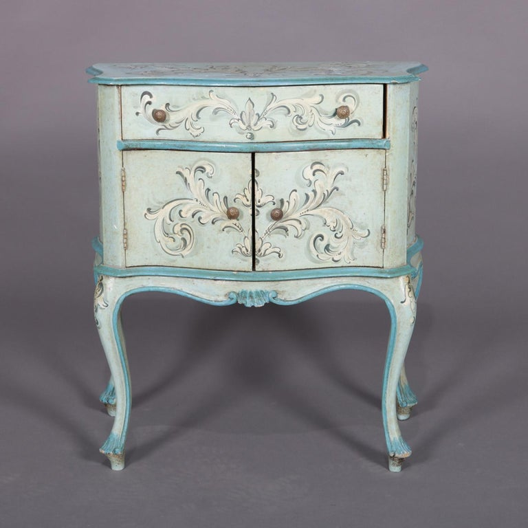 Hand-Painted Vintage French Provincial Hand Painted End Stand by Florentia and Made in Italy For Sale
