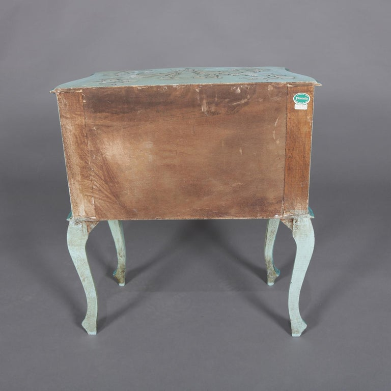 20th Century Vintage French Provincial Hand Painted End Stand by Florentia and Made in Italy For Sale