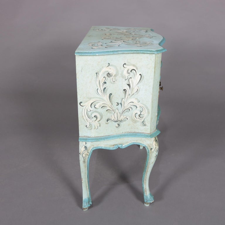 Wood Vintage French Provincial Hand Painted End Stand by Florentia and Made in Italy For Sale