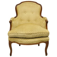 Vintage French Provincial Louis XV Style Small Bergere Walnut Lounge Arm Chair