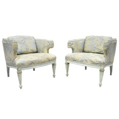 Vintage French Provincial Louis XVI Blue and Cream Painted Club Chairs, a Pair