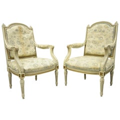 Vintage French Provincial Louis XVI Cream Painted Fauteuil Armchairs, a Pair
