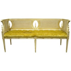 Vintage French Provincial Louis XVI Style Cane Back Cream and Gold Bench Settee
