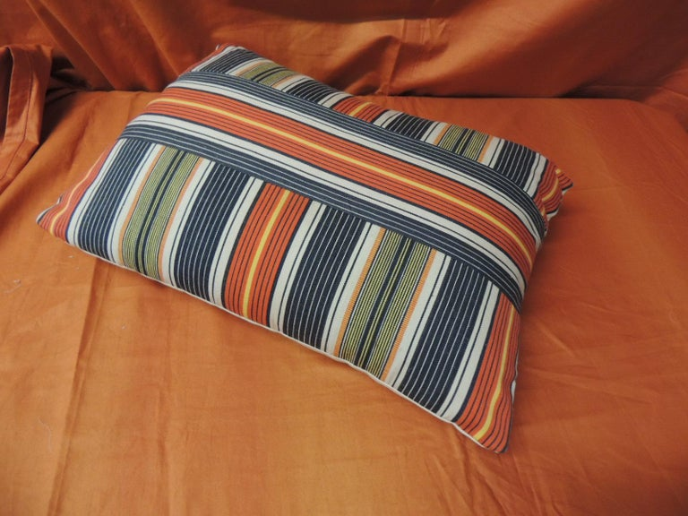 Hand-Crafted Vintage French Provincial Orange and Blue Linen Stripes Decorative Lumbar Pillow For Sale