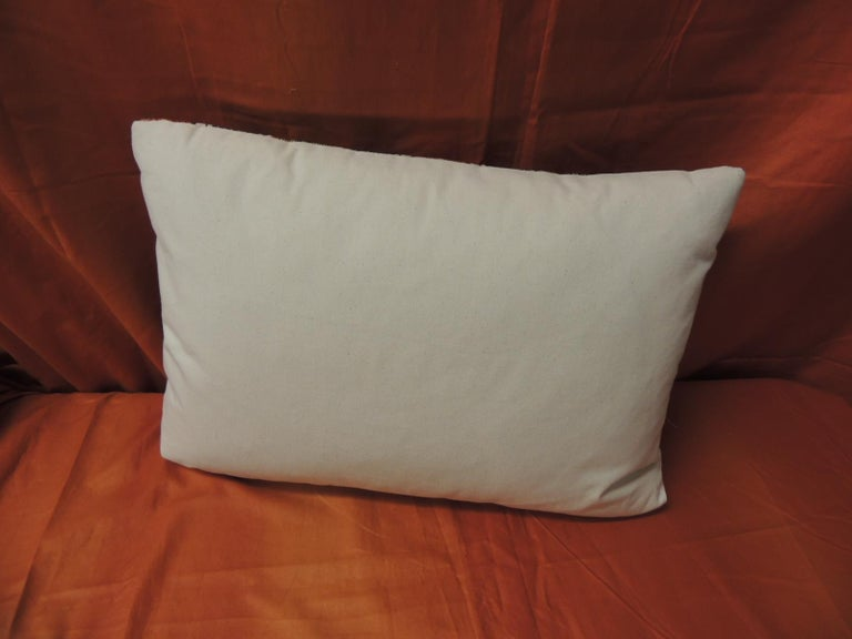 Vintage French Provincial Orange and Blue Linen Stripes Decorative Lumbar Pillow In Good Condition For Sale In Wilton Manors, FL