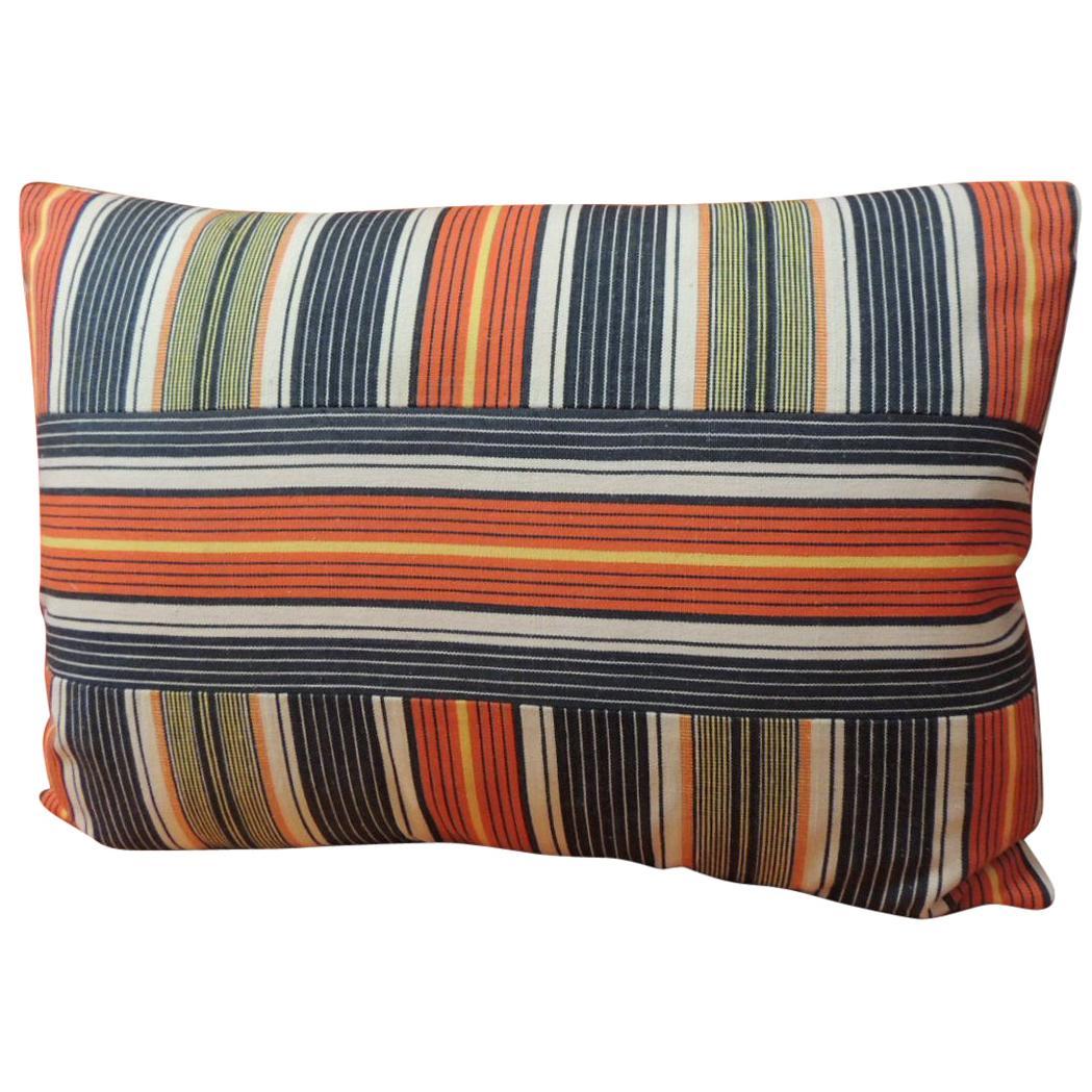 Vintage French Provincial Orange and Blue Linen Stripes Decorative Lumbar Pillow