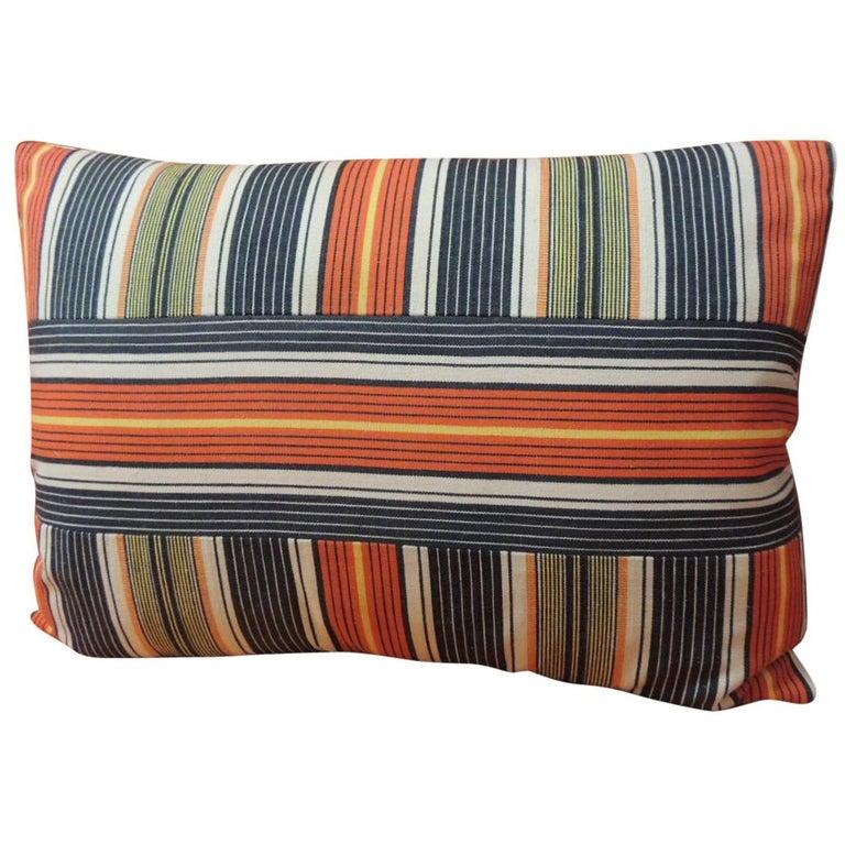 Vintage French Provincial Orange and Blue Linen Stripes Decorative Lumbar Pillow For Sale