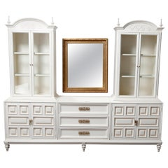 Vintage French Provincial Paint Decorated & Lighted Breakfront China Cabinet