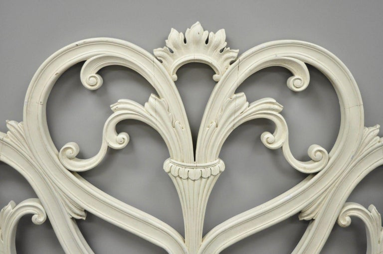 Vintage French Provincial Rococo Carved Wood King-Size Shabby Chic Headboard Bed For Sale 6