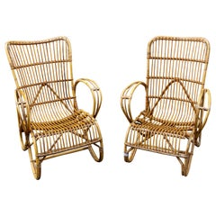 Vintage French Rattan Armchairs with Tall Back