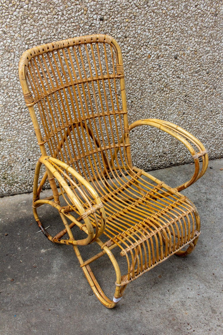 Vintage French Rattan Armchairs with Tall Back For Sale at ...