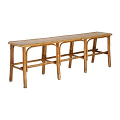 Vintage French Rattan Bench