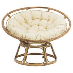 Vintage French Rattan Papasan Chair