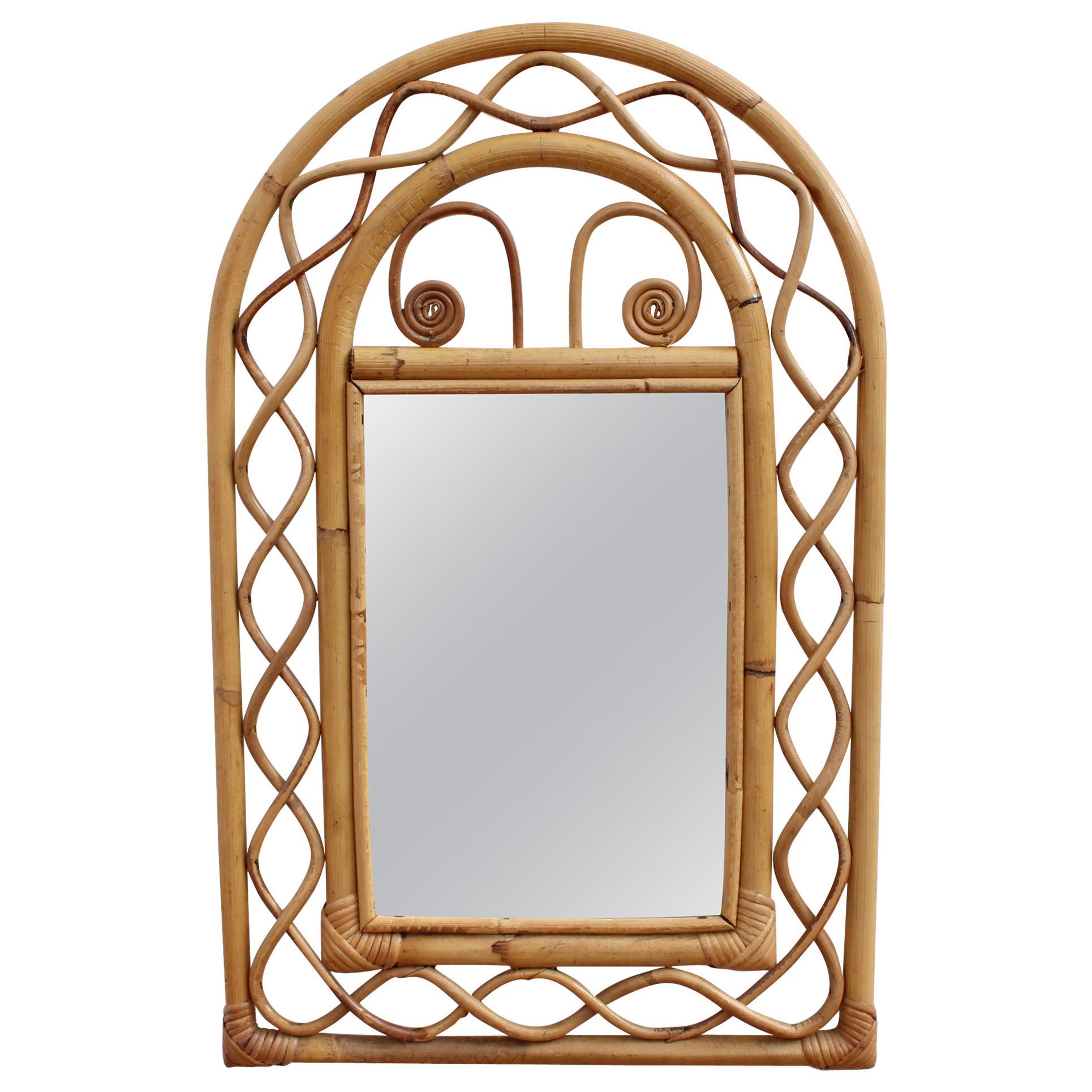 Vintage French Rattan Wall Mirror, 'circa 1960s'