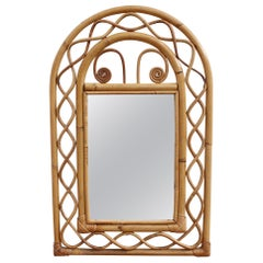 Vintage French Rattan Wall Mirror, 'circa 1960s'