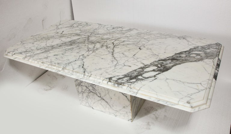 Vintage French rectangular white black marble dining conference table, believed to be from 1970s.  Huge marble table. Incredible veining throughout. Heavy and sturdy. 1 of a kind.