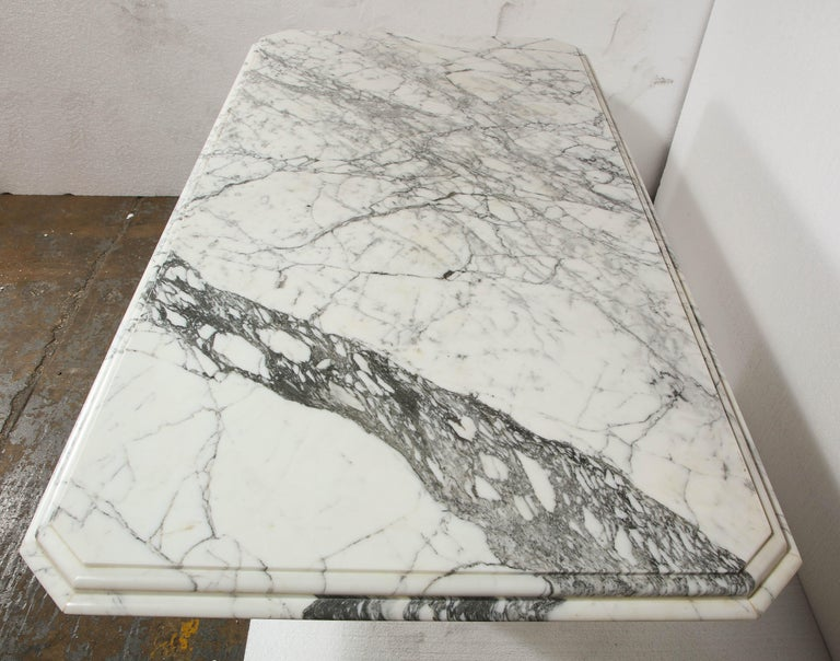 Vintage French Rectangular, White Black Marble Dining Conference Table In Good Condition For Sale In New York, NY