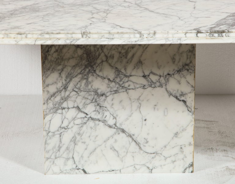 20th Century Vintage French Rectangular, White Black Marble Dining Conference Table For Sale