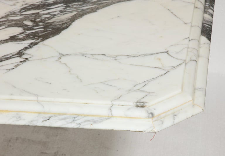 Vintage French Rectangular, White Black Marble Dining Conference Table For Sale 1