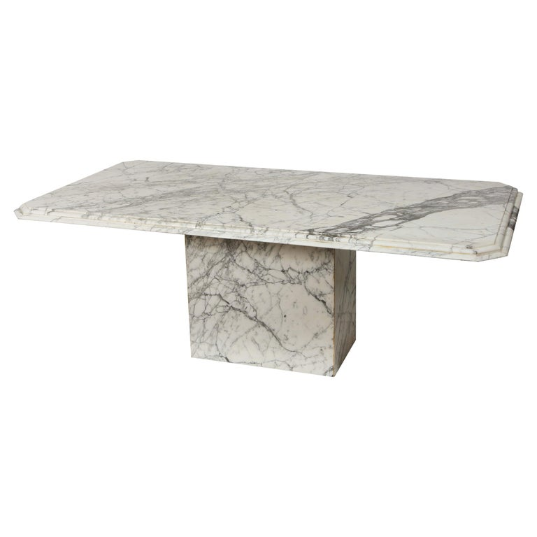 Vintage French Rectangular, White Black Marble Dining Conference Table For Sale
