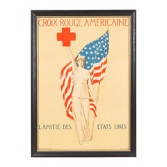 Vintage French Red Cross WWI Poster, circa 1918