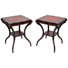 Vintage French Regency Style Red Leather Top Mahogany Lamp End Tables, a Pair