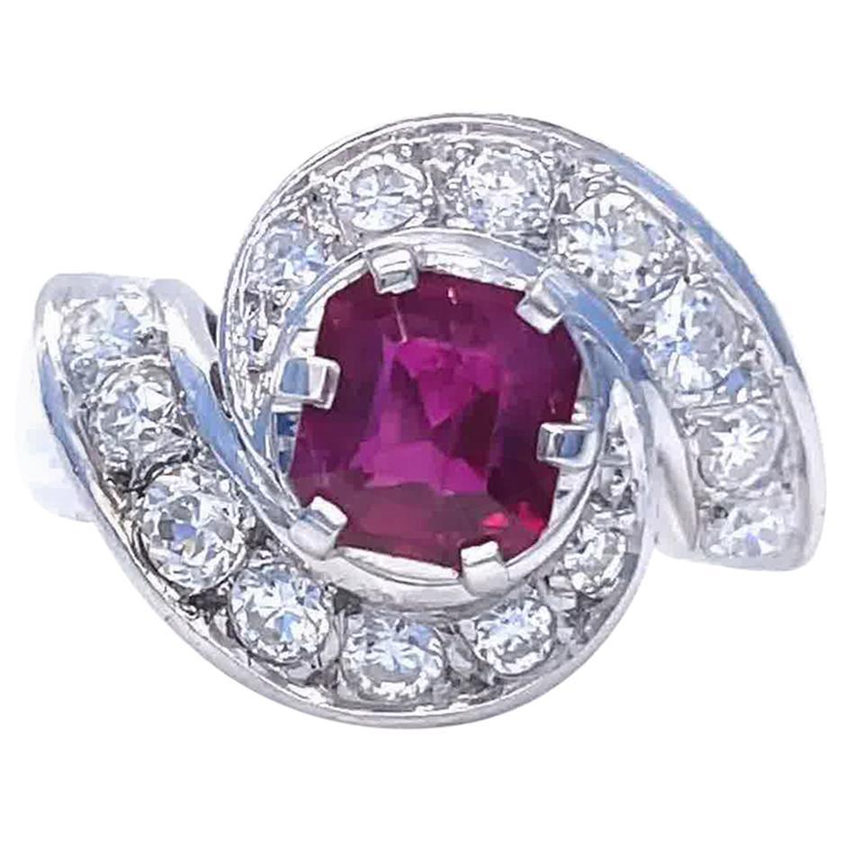 Vintage French Retro GIA Ruby Diamond Platinum Ring