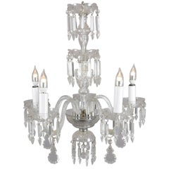 Vintage French Rock Crystal & Chrome 5-Candle Light Chandelier, circa 1940