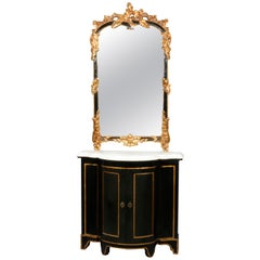 Vintage French Rococo Style Marble Top Ebonized Console and Mirror, 20th Century