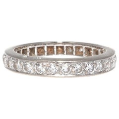 Vintage French Round Cut Diamond 18 Karat White Gold Eternity Band