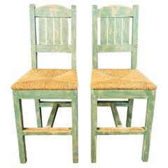 Vintage French Rustic Syle Straw Wooden Bar Stool in Green Turquoise, a Pair