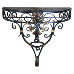 Vintage French Scrolled Iron & Marble Wall Mount Demilune Entry Console Table 36
